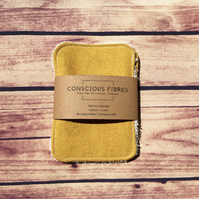Zero Waste Linen & Cotton kitchen sponges cleaning pads 2 pack mustard yellow.