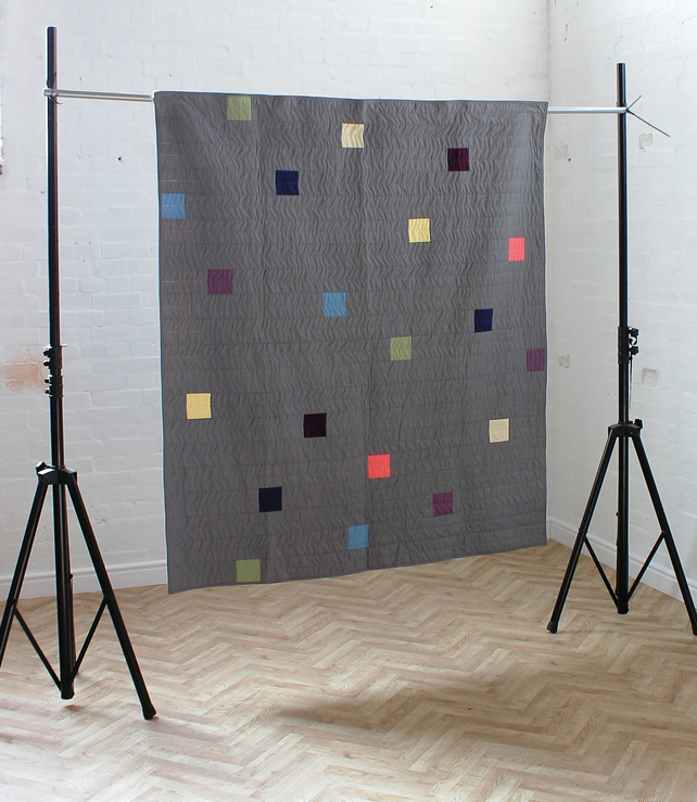 Grey minimalist patchwork quilt- The Space Between Us