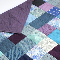 Blue patchwork quilt, mermaid patchwork quilt, purple quilt