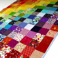 Rainbow quilt, rainbow patchwork quilt, bright rainbow blanket, children's quilt