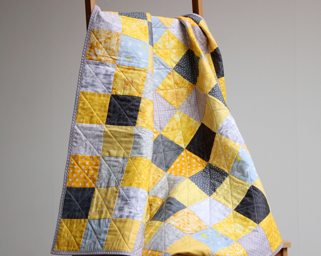 841ec8754ce2a Yellow and grey baby quilt, unisex baby quilt, baby shower gift