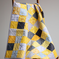 Yellow and grey baby quilt, unisex baby quilt, baby shower gift