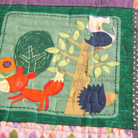 Unisex baby quilt, woodland friends patchwork quilt, baby shower gift