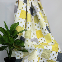 Bee handmade patchwork quilt, yellow and grey modern patchwork quilt