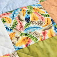 Unisex feathers patchwork quilt, muted colours quilt