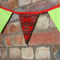 Red African fabric bunting, bright carnival party bunting, home decorations