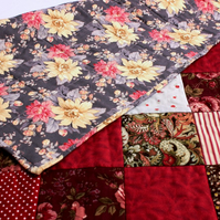 Romantic red handmade patchwork quilt, roses floral sofa throw, bed quilt