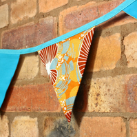 Turquoise and mustard African fabric bunting, bright carnival party bunting