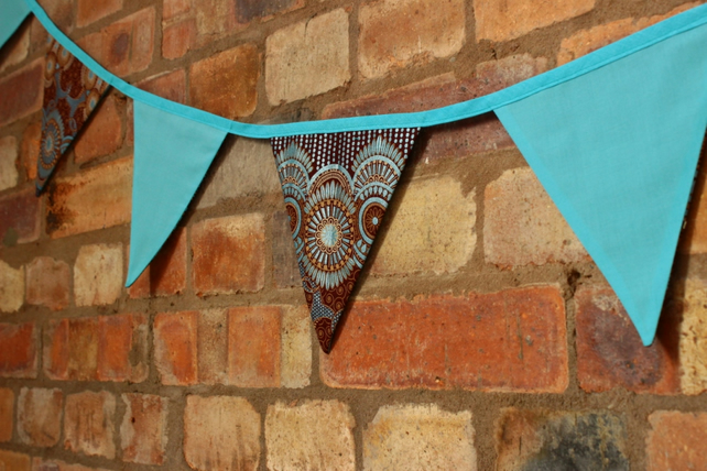 Metallic African fabric bunting, bright carnival party bunting, double sided