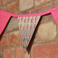 Pink and black African fabric bunting, carnival party bunting, double sided