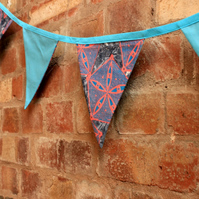 Turquoise metallic African fabric bunting, carnival party bunting, double sided