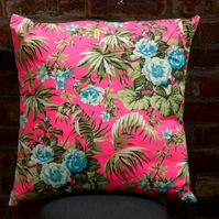 Giant neon pink tropical print cushions, floor cushions, large decorative pillow