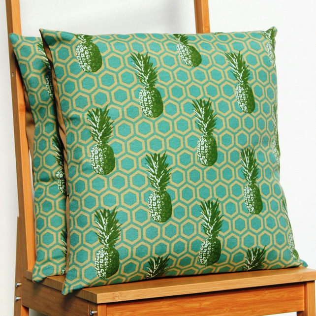 Modern pineapple print cushion, geometric muted colour pineapple scatter cushion