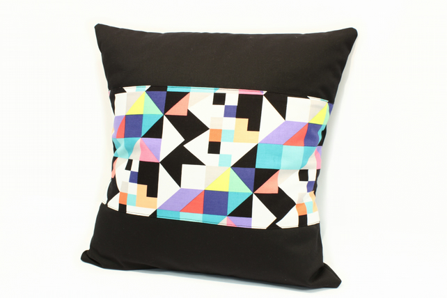 Modern black cushion, Geometric shapes cushion, black geometric cushion,