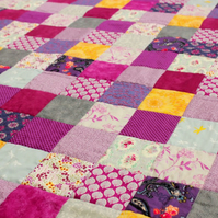 Pink and purple patchwork quilt, handmade feminine patchwork quilt, gift for mum