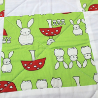Unisex bunny rabbit fleece quilt, play mat, tummy time mat, green and grey quilt