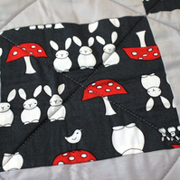 Unisex bunny rabbit fleece quilt, play mat, tummy time mat, red and grey quilt