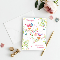 Personalised Wedding Thank You Cards, Sample, Love Birds