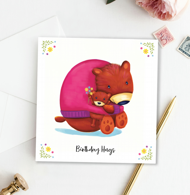 Birthday Hugs Greeting Card, 138mm square