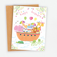 Noah's Ark, Illustrated Birthday Card, 5 x 7 inch, White or Brown Envelope