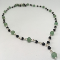 Green Aventurine and Black Onyx Necklace, Silver Filled Necklace, Gemstone Set