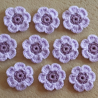 Set of 10 crocheted flowers with sparkle middles in shades of purple