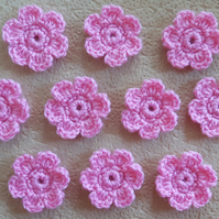 Set of 10 crocheted baby pink flower embellishments for cards, scrapbook, sewing