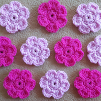 Set of 10 crochet daisy flowers in two shades of pink for crafts and sewing