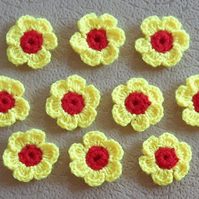 10 crochet bright yellow and red flowers for crafts, cards, scrapbook, sew on