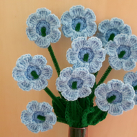 Bunch of 10 crochet blue flowers for birthday, baby shower or hospital visit