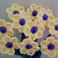Bouquet of 10 crochet yellow and purple flowers with stem and leaves for bithday