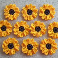 Set of 10 crochet orange and brown sunflowers for craft, card, and sewing on
