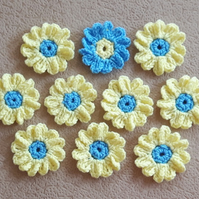 Set of 10 crochet yellow and blue gerbera flowers for crafts and sewing on