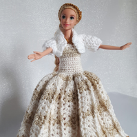 Crochet Barbie doll princess dress, cardigan, headband in gold and white