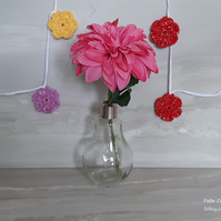Crochet flowers bunting garland for nursery playroom baby shower wall decoration