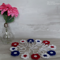 British flower bunting in Union Jack colours for Royal Wedding celebrations