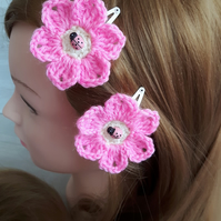 Handmade crochet pink flower hair clips with ladybug sleepies slide toddler baby