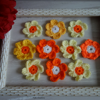 10 crochet orange daisy flowers for crafts, sewing on clothing or home decor