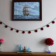 Handmade crochet poppy flower bunting, garland for wall decoration, Remembrance