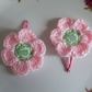 Hair clips for baby with sparkle pink crochet flower sleepies snap slide toddler