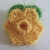 Daffodil brooch, crochet flower pin, yellow sparkle corsage spring girl mum gift