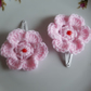Baby hair snap clips with pink crochet flower, sleepies, slides for toddler girl
