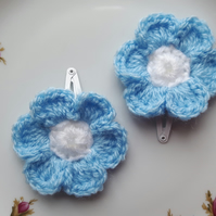 Blue flower hair clips, crochet sleepies, slides for baby, toddlers, girls, gift