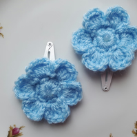 Flower hair clips in bue, crochet sleepies, slides for baby, toddlers, girls