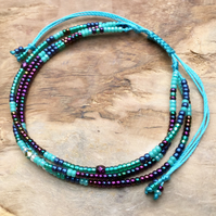 Three Strand Friendship Beaded Bracelet.