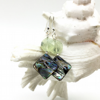 Paua Abalone Shell and Prehnite Drop Earrings.