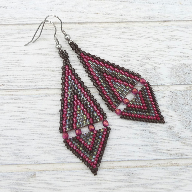 Diamond Shape Glass Seed Bead Drop Earrings.