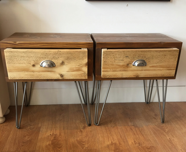 hot sale online 85bd8 f5d1c Reclaimed Wooden Bedside Table on Hairpin Legs