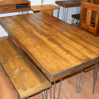 Reclaimed Wooden Table and x2 Benches on Hairpin Legs