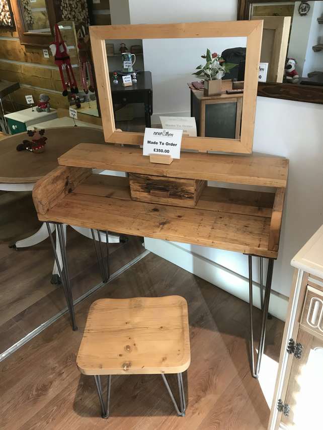 new style 7d96a 56d55 Reclaimed Wooden Dressing Table with Mirror and Stool on Hairpin Legs
